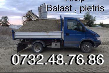 Vand / transport nisip pietris balastru balast  margaritar refuz de ciur piatra sparta